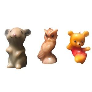 Retro Animal Candles: Mouse, Owl, and Bear